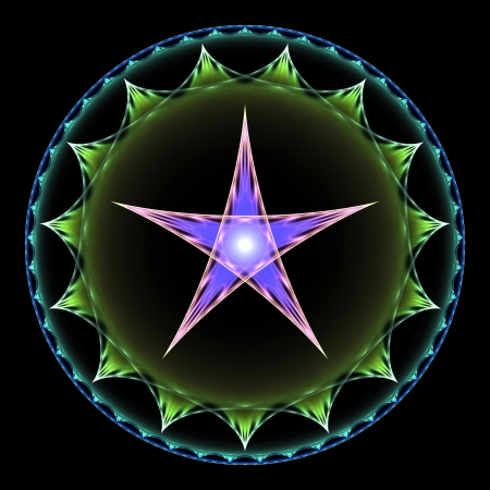 pentagram: Purple and green pentangle abstract fractal design for backgrounds and wallpapers