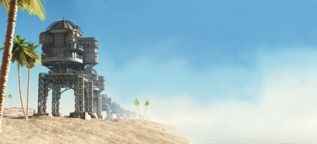 Sunny tropical seafront and beach huts on a futuristic science fiction world, 3d digitally rendered illustration Stock Illustration - 14969289