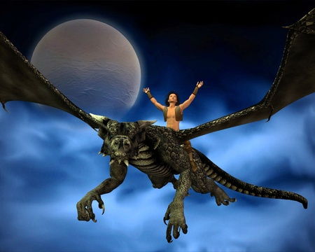 Young man riding a dragon with background of full moon and swirling blue mist, 3d digitally rendered illustration