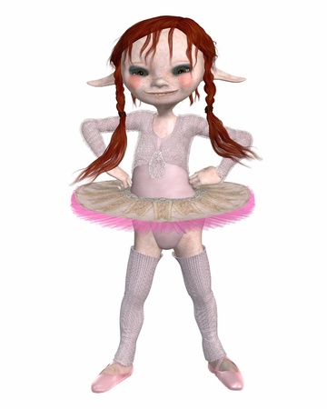 Cute but ugly toon goblin ballerina in a pink tutu and legwarmers standing with hands on hips, 3d digitally rendered illustration