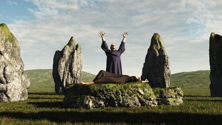 pohanský: Pagan druid oběť ve starobylém kamenného kruhu, 3d digitálně tavené ilustrace Reklamní fotografie