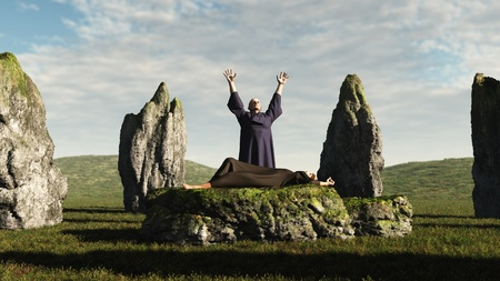 priest's ritual robes: Pagan druid sacrifice in an ancient stone circle, 3d digitally rendered illustration Stock Photo