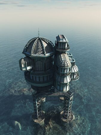 Illustration of a Futuristic science fiction or steampunk house built on an artificial island on the ocean, 3d digitally rendered illustration illustration