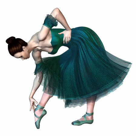 Illustration of a Ballerina in Green  Ballerina in a green romantic style tutu adjusting the ribbons on her pointe shoe, 3d digitally rendered illustration illustration