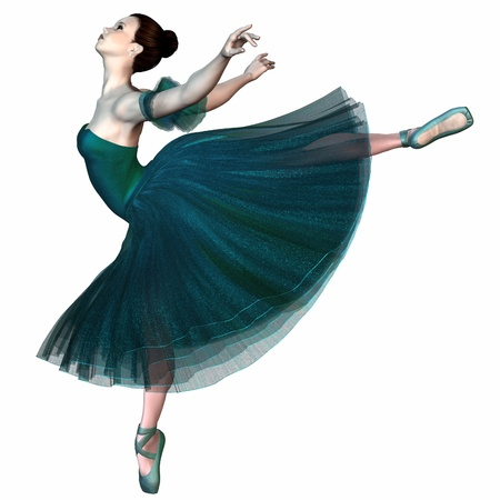 Illustration of a Ballerina in a green romantic style tutu balancing on pointe, 3d digitally rendered illustration