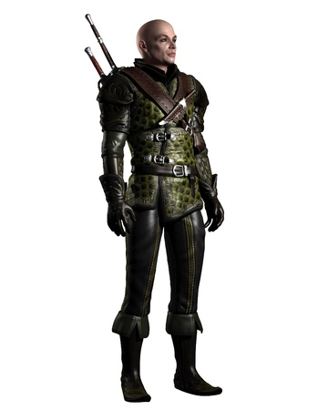 armour: Illustration of Medieval or historical style battle scarred fantasy ranger character in leather armour with two swords on a white background, 3d digitally rendered illustration