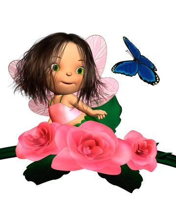 Cute toon baby fairy sitting in a pink rose bush and looking at a blue butterfly, 3d digitally rendered illustration illustration
