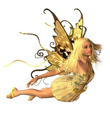 woman flying: Pretty blonde fairy in summer sunshine, 3d digitally rendered illustration
