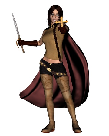cloak and dagger: Illustration of a Female vampire hunter holding a silver dagger and ancient metal cross, 3d digitally rendered illustration