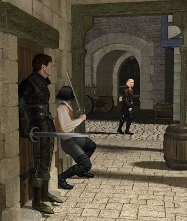 city alley: Armed men waiting for their victim in a Medieval or fantasy alley, 3d digitally rendered illustration Stock Photo