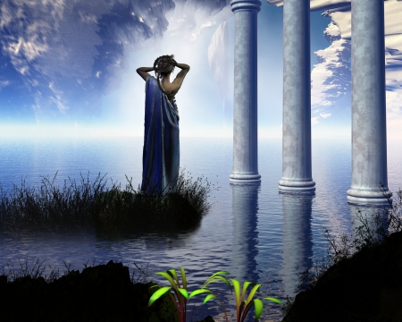 greek mythology: Aphrodite the Greek goddess of love, known to the Romans as Venus, standing in a temple grotto, 3d digitally rendered illustration Stock Photo