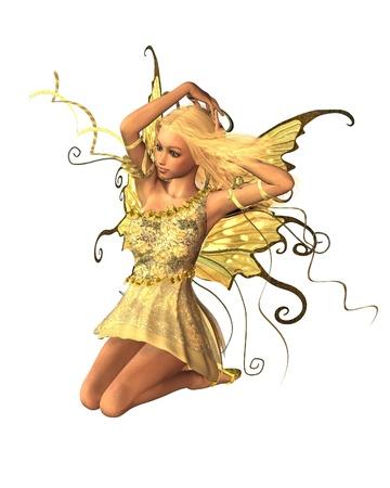 Pretty blonde fairy kneeling in summer sunshine, 3d digitally rendered illustration