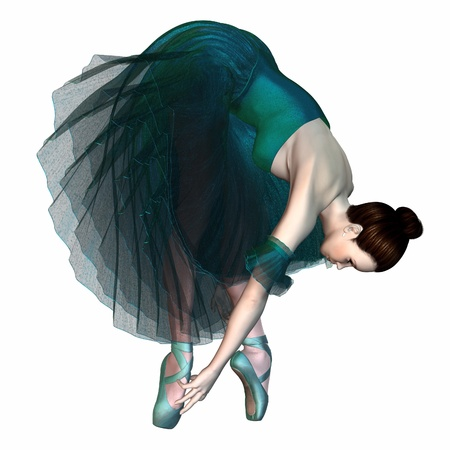Ballerina in a green romantic style tutu checking the ribbons on her pointe shoes, 3d digitally rendered illustration