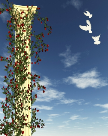 corinthian: Classical Corinthian temple column topped with acanthus leaves with climbing red rose vines and white doves against a blue sky, 3d digitally rendered illustration