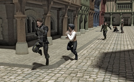 ruffian: Hue and cry - chase through a Medieval or fantasy street, 3d digitally rendered illustration Stock Photo
