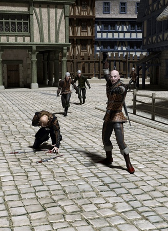 Guards chasing felons in the street of a Medieval or fantasy town, 3d digitally rendered illustration illustration