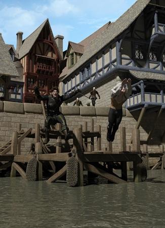 edad media: Dos pícaros medievales que escapan de la guardia de la ciudad saltando de los muelles, 3d digital rindió la ilustración