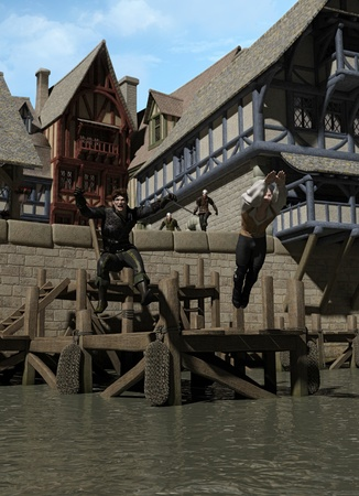 ruffian: Two Medieval rogues escaping from the town guard by jumping from the docks, 3d digitally rendered illustration