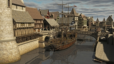 half timbered house: Sailing ship moored at Medieval or fantasy waterside town docks, 3d digitally rendered illustration Stock Photo
