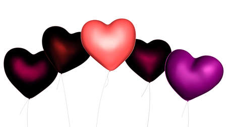 purple heart: Pink, red and purple heart shaped Valentine s Day balloons, 3d digitally rendered illustration