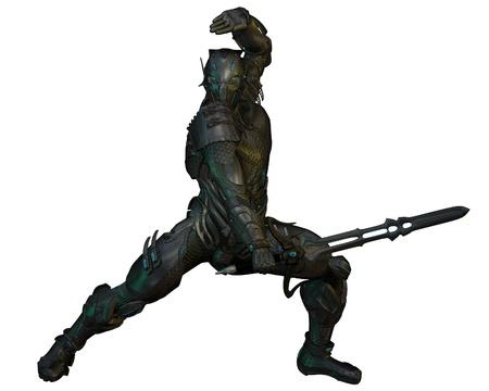 sci: Futurista blindado caballero guerrero con espada de energ�a, 3d digital rindi� la ilustraci�n