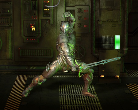 armoured: Futuristic armoured warrior knight with power sword in a dark corridor, 3d digitally rendered illustration