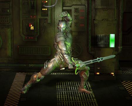 sci: Futuristic armoured warrior knight with power sword in a dark corridor, 3d digitally rendered illustration