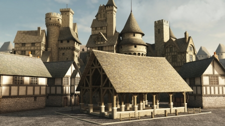 turrets: Medieval or fantasy town market place, 3d digitally rendered illustration
