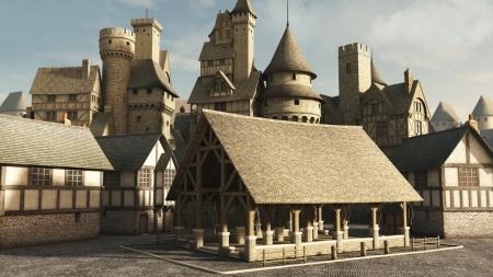 edad de piedra: Plaza del mercado medieval o de la fantas�a, 3d digital rindi� la ilustraci�n Foto de archivo