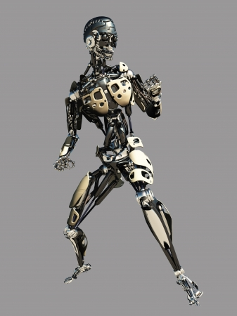 android robot: Futuristic science fiction android on a grey background, 3d digitally rendered illustration
