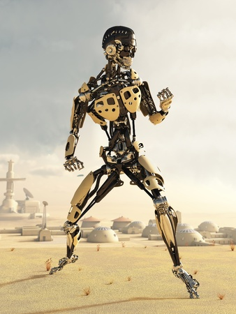 Futuristic science fiction android in a desert landscape outside a small town, 3d digitally rendered illustration illustration