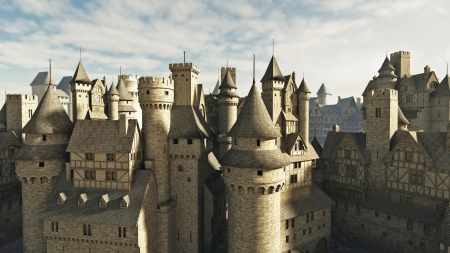 castle rock: Medieval or fantasy town rooftops, 3d digitally rendered illustration Stock Photo
