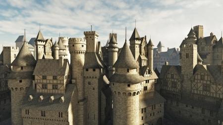 rooftop: Middeleeuwse of fantasie stad daken, 3d digitaal teruggegeven illustratie