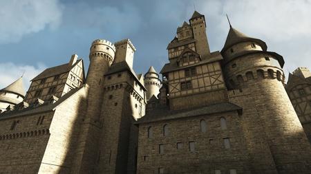 Medieval or fantasy castle or town walls, 3d digitally rendered illustration