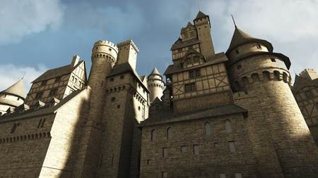 ancient buildings: Medieval or fantasy castle or town walls, 3d digitally rendered illustration