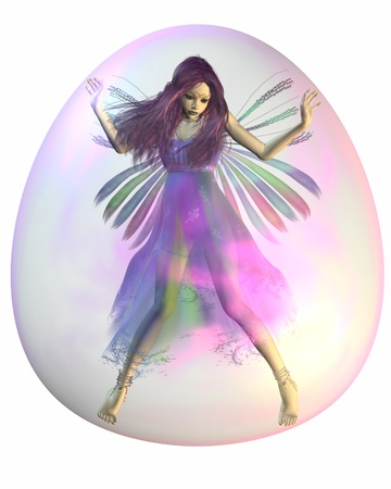 caught: Pretty fairy with purple hair trapped inside a pink bubble, 3d digitally rendered illustration Stock Photo