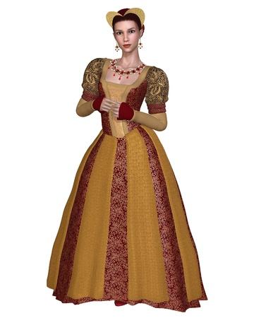 middeleeuwse jurk: Princess of edelvrouw in een rijk versierde renaissance of laat-middeleeuwse jurk en hoofdtooi met goud brokaat, 3d digitaal teruggegeven illustratie
