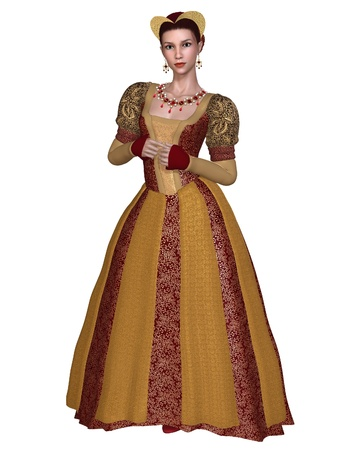 Princess or noblewoman in a richly decorated Renaissance or late Medieval dress and headdress with gold brocade, 3d digitally rendered illustration