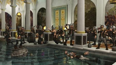 soldati romani: Horde Nano Toon Vichingo festa in una casa bagno romano, 3d digitale reso illustrazione