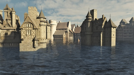 Flooded Medieval or fantasy town, 3d digitally rendered illustration illustration