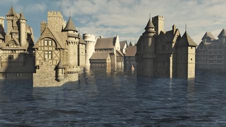 deluge: Flooded Medieval or fantasy town, 3d digitally rendered illustration Stock Photo