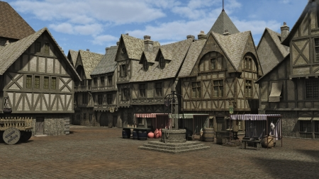 Medieval or fantasy town square and market place, 3d digitally rendered illustration illustration