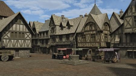 Edad de Piedra: Plaza de la ciudad medieval o de la fantas�a y la plaza del mercado, 3d digital rindi� la ilustraci�n