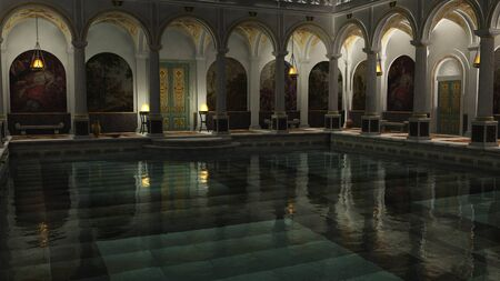 richly: The interior of a richly decorated Roman bath house at night lit by hanging lamps and braziers, 3d digitally rendered illustration Stock Photo