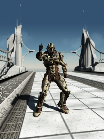 road warrior: Futuristic space marine trooper guarding a bridge, 3d digitally rendered illustration