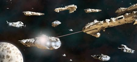 raumschiff: Raum Kampf zwischen Flotten von riesigen Science-Fiction-Schiffe, 3d übertrug digital Abbildung