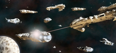 Space battle between fleets of giant science fiction ships, 3d digitally rendered illustration