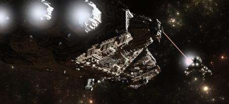 raumschiff: Science-Fiction-Kriegsschiff verfolgt einen kleineren Behälter durch interstellaren Raum, 3d übertrug digital Abbildung Lizenzfreie Bilder
