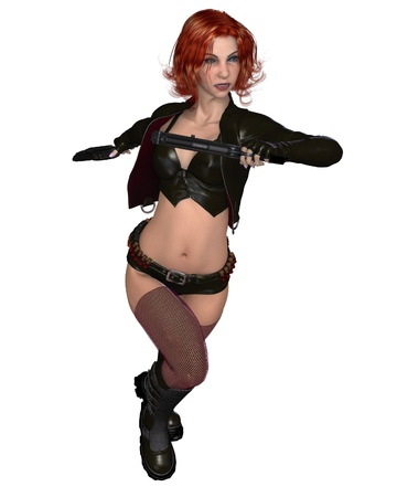 Fantasy style female red haired mercenary wearing black leather, 3d digitally rendered illustration illustration