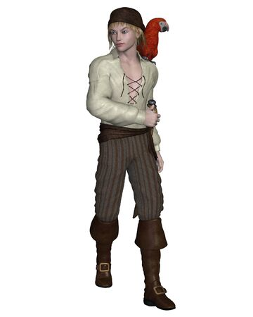 leather pants: Young pirate with a parrot on his shoulder, 3d digitally rendered illustration